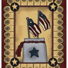 Primitive Country Folk Art Kitchen Refrigerator Magnet - Prim Country US Flags