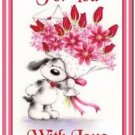 Cute Valentine's Day Love Kitchen Refrigerator Magnet - Sweet Puppy with Flowers