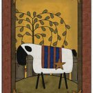 Primitive Country Folk Art Kitchen Refrigerator Magnet - Prim Country Sheep #4