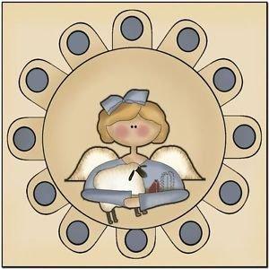 Primitive Country Folk Art Kitchen Refrigerator Magnet - Penny Rug Angel & Sheep