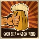 Beautiful Retro Decor Collectible Kitchen Fridge Magnet - Good Beer- Good Friend
