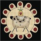 Primitive Country Folk Art Kitchen Refrigerator Magnet -Penny Rug Prim Sheep #2