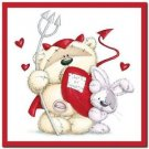 Cute Valentine's Day Love Kitchen Refrigerator Magnet - Teddy Bear and Bunny