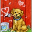 Primitive Country Folk Art Kitchen Refrigerator Magnet - Love Goldie Puppy