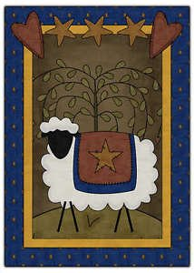 Primitive Country Folk Art Kitchen Refrigerator Magnet - Prim Country Sheep #5
