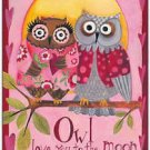 Primitive Country Folk Art Kitchen Refrigerator Magnet -Cute Love Owls