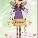 Primitive Country Folk Art Kitchen Refrigerator Magnet - Prim Angels - Love
