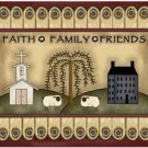 Primitive Country Folk Art Kitchen Refrigerator Magnet - Faith, Family, Friends