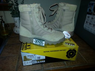 Original SWAT Classic 9inch Tactical Boots Tan with Side Zipper Mens Size 9.5 fits like size 10