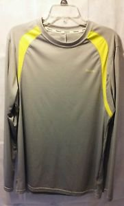 Reebok Long Sleeve Grey and Yellow Dri Fit Shirt