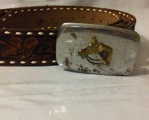 Vintage Leather Western Belt w/Horse Head on Buckle engraved Roger on back.