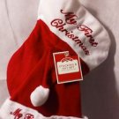 "Holiday Time 12"" My 1st Christmas Red/White Embroidered Stocking & Hat Set"