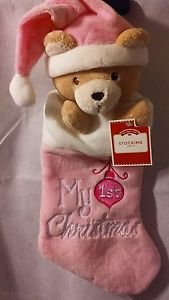 Holiday Time My 1st Christmas Teddy Bear w/Hat Stocking