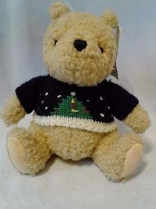 "GUND Disney CLASSIC Winnie the Pooh Bear Stuffed Plush 7""  W/Christmas SWEATER"
