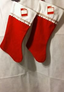 LOT OF 2 HOLIDAY TIME FELT STOCKING **  ** NEW ** 18 INCHES ***