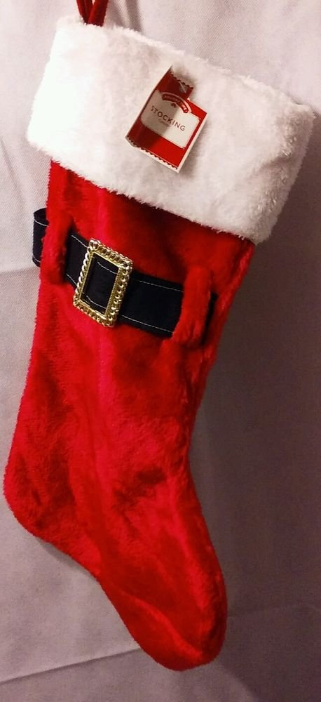 "New Imported 20"" Red Santa Claus Belt Stocking Holiday Time Christmas Decor"
