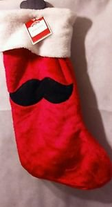 "New Imported 20"" Red Mustache Stocking Holiday Time Christmas Decor"