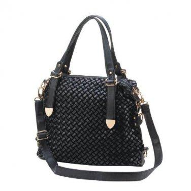 Woven Black Shoulder Bag-10016240