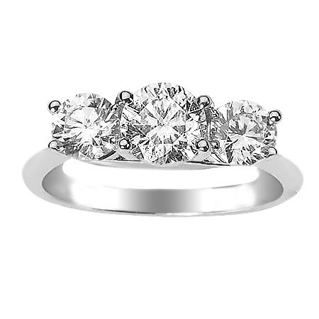 Three Stone Ring- 1 Carat SI1 Diamond in 14K Gold