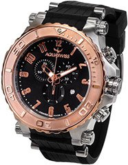 Aquaswiss 39XG084 Mens Watch Rose Gold Tone Bezel Bolt Quartz Chronograph Black Dial Rubber Strap