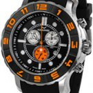 Aquaswiss 96XG056  Mens Watch Rugged Quartz Chronograph Black Dial Bezel Rubber Strap Orange Bezel