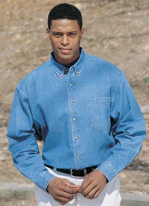 Tri-Mountain Denim Shirt, Large