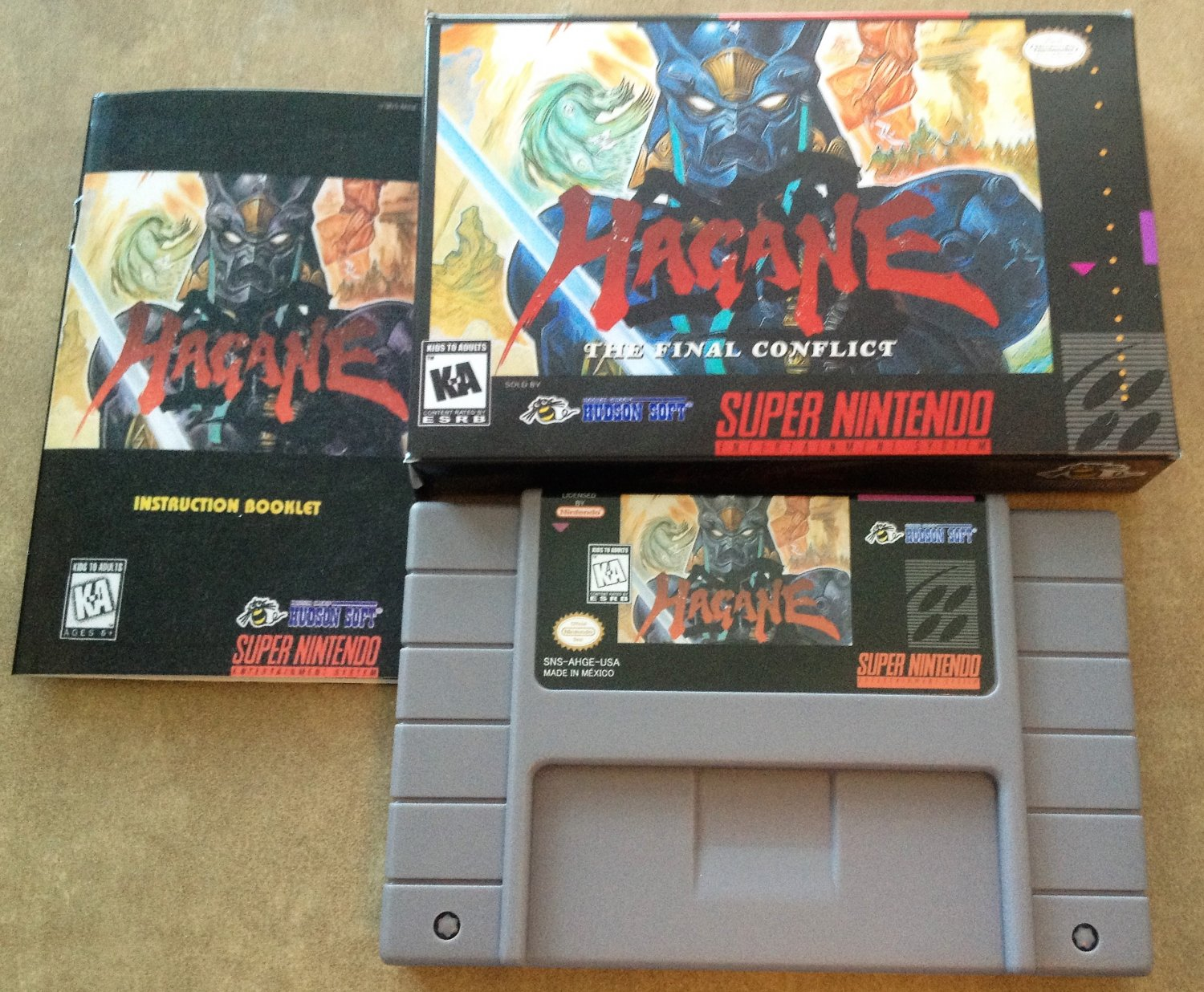 Hagane: The Final Conflict (Super Nintendo, SNES) - Repro Cart w/ Custom Mini Box and Game Manual