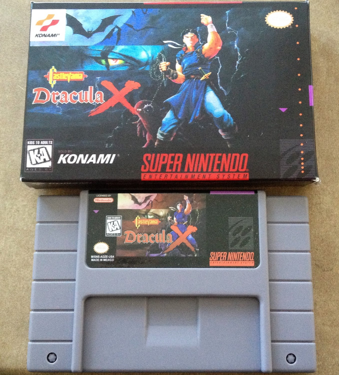 Castlevania: Dracula X (Super Nintendo, SNES) - Repro Cart w/ Custom Mini Box