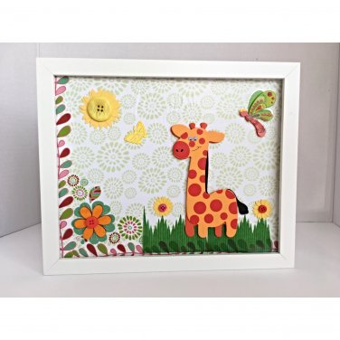 Nursery Giraffe Framed, kids room decor