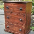 Original antique small handmade rustic pine flight of 3 drawers miniature chest