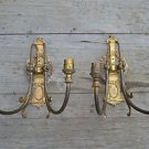 A pair of original antique gilded brass laurel wreath wall lights classic style