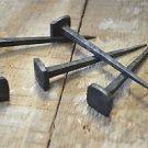 Set of 5 large handmade square head wrought iron nails door stud hanger IN1