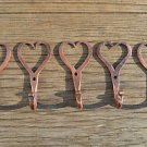 5 small solid copper Shaker heart hooks American folk art wall door hook hanger