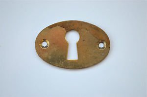 Original antique pressed brass escutcheon plate keyhole box furniture KP8