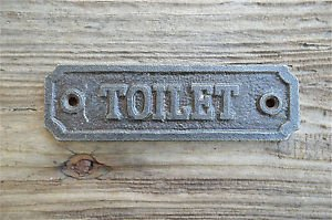 SOLID ANTIQUE STYLE CAST IRON TOILET DOOR SIGN DOOR PLAQUE WH14