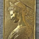 Beautiful brass Arts and Crafts princess wall plaque hanging panel SE7