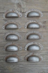 SET OF 10 ANTIQUE PRESSED AGED STEEL DRAWER HANDLE FILING INDUSTRIAL PULL CB21