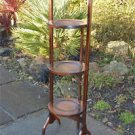 Original solid oak antique 1930's folding cakestand cake stand what not rack