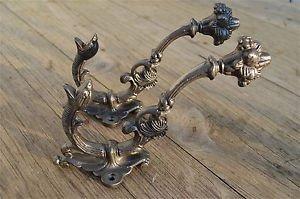 Pair of superb large cast iron serpent coat hook wall hanging hook coathook AL68