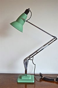 ORIGINAL 1930's HERBERT TERRY ANGLEPOISE LIGHT GREEN CRINKLE PERFORATED SHADE