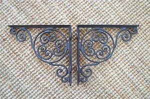 "Pair of antique swirl cast iron wall shelf brackets bracket 9"" x 9 1/2"" AL28"