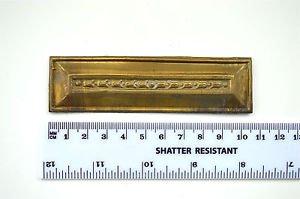 Original antique pressed brass furniture mount mirror cartouche emblem H10
