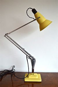 ORIGINAL 1930's HERBERT TERRY ANGLEPOISE LIGHT YELLOW CRINKLE PERFORATED SHADE