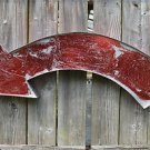 FANTASTIC LARGE RED CURVED METAL WALL ARROW SIGN 3D FAIRGROUND SHOP SIGN