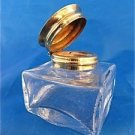 REPLACEMENT WRITING SLOPE BOX INKWELL GLASS WITH BRASS HINGED LID LARGE SIZE