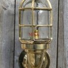 Superb large solid brass Ship bulkhead wall light passageway lamp cage light