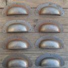 SET OF 8 ANTIQUE PRESSED AGED STEEL DRAWER HANDLE FILING INDUSTRIAL PULL CB11