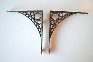 "Pair of cast iron wall shelf brackets iron bridge bracket 8"" x 8 3/4"" AL33"