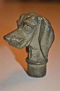 Superb replica antique bronze Setter dog walking cane handle stick knob AM3