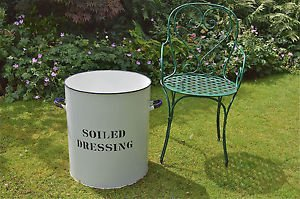 "Fantastic huge antique enamel hospital bin ""SOILED DRESSING"" clothes container"